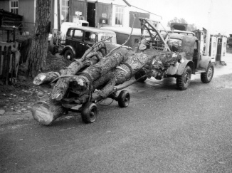Wood being collected in 1949
